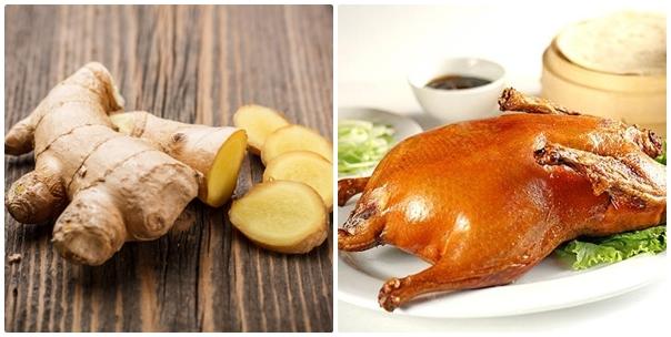 Hạn chế ăn gừng sống và thịt vịt