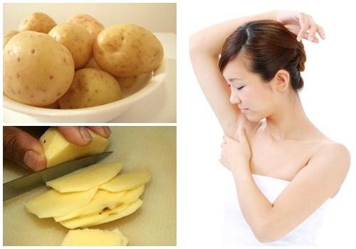 cách trị hôi nách bằng khoai tây sống thái lát